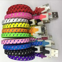 Wholesale flat braid cord for sale – best 1M FT Micro USB Braided Fabric Charger Data Sync Nylon Flat Cable Cord Adapter for Samsung Galaxy S6 S4 Note4