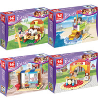 4 boxed toys puzzle assembled building blocks girls amusement park combination children early education toys gifts