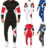 Wholesale white suit blue trouser resale online - Man Panelled Sweatshirts Sets Long Sleeve Loose Tops Sports Trousers Suits Designer Male Casual Tracksuits