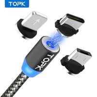 TOPK AM17 LED Magnetic USB Cable   Micro USB   Type-C For PX Xs Max Magnet Charger for Samsung Xiaomi Pocophone USB C