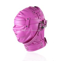 Wholesale gear head toy for sale - Group buy Pink Bondage Hoods For Faux Master Blindness GN311300015 Gear Toys Restraints Adult Products Head Mask Women Leather Bdsm Sex Cnfmc