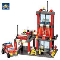 Wholesale kazi blocks resale online - Kazi City Fire Station Building Blocks All Brand City Truck Model Bricks Firefighter Toys For Children bbyNeQ homebag