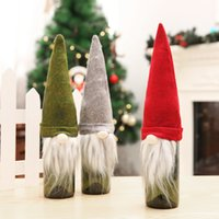 Wholesale glass christmas tree resale online - New Christmas Gift Bag Decorations Santa Claus Bag Wine Glass Bottle Set Christmas Champagne Decoration Wine Bag BWC2952