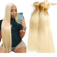 Wholesale human hair extensions queens for sale - Group buy Gaga queen Brazilian Straight Hair Bundles Blonde Human Hair Bundles Hair Extensions Bundles
