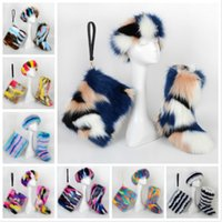 Wholesale plus size women snow boots for sale - Group buy Fashion Women Lady Faux Fox Fur Snow Boot Bag Set Pieces Headband With Fur Lined Lining Winter Plus Size Furry Fluffy Outdoor Mid boot