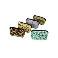 Wholesale phones storage resale online - Women Cosmetic Bags Neoprene Makeup Bag Sunflower Leopard Print Clutch Bag Travel Makeup Organizer Coin Case Phone Storage Bags AHF1251