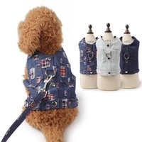 Wholesale small steps resale online - No Small Adjustable Leash D Ring For Vest Durable Set Denim Lead Pull Pet Jacket Puppy With Step In Dog Cat Harness Jean bbyEFb garden2010