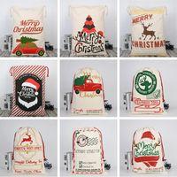 Wholesale Christmas Canva Bags Sled Elks Santa Sack Drawstring Bag Christmas Candy Gift Bags Printing Storage Bag Christmas Decorations HWE2067