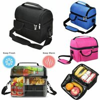 Wholesale cool lunch bags for women resale online - Insulated Lunch Bag Box Cooler for Men Women Heavy Duty Oxford Nylon Black