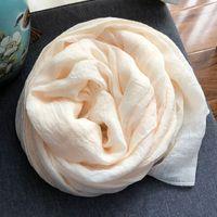 Wholesale literary scarves resale online - White Beige Scarf Korean women s autumn and winter versatile solid color literary long cotton linen shawl silk scarf
