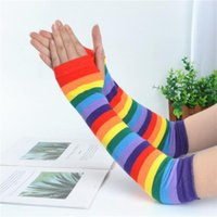 Wholesale striped long arm warmer resale online - 1 Pair New Warm Half Finger Gloves Rainbow Color Long Gloves Japanese Style Striped Knitted Sunscreen Autumn Arm Sleeve