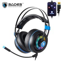 Wholesale 7.1 surround headsets resale online - Sades Armor Gaming headset Gaming Headphone Surround Wired Gamer Headphone Stereo Sound Headsets with Mic Colorful LED ligh