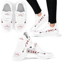 Wholesale women nurse shoes resale online - INSTANTARTS Heartbeat Nurse Pattern Women Flat Shoes Summer Comfort Light Female Casual Shoe Mesh Nurse Sneakers Loafers Shoe LJ201019