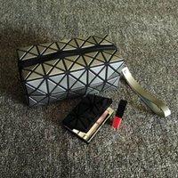 Wholesale fold up makeup case resale online - ISKYBOB Women Cosmetic Bag Cases Geometric Folding Make Up Bag Quality PVC Organizer Makeup Case Beauty Bags