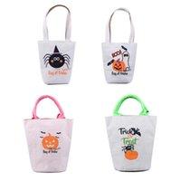 Wholesale pumpkin decoration for sale - Group buy Helloween Gift Handbag Bag Pumpkin Sprinting Storage Bags Helloween Decorations Handbags Printed Cotton Linen Storage Bag Supplies EEC2733