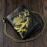 Wholesale leather dragon purse resale online - Mens D Dragon Vintage Luxury Leather Wallet ID Card Holder Purse w Chain