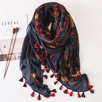 Wholesale cotton floral voile scarves for sale - Group buy Women Fashion Small Polka Floral Tassel Viscose Shawl Scarf Print Voile Wrap Headband Bufandas Muslim Hijab Sjaal Cm Y201007