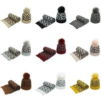 Wholesale shawls gloves sets resale online - Women Winter Vintage Leopard Knitted Pompom Cuff Beanie Hat and Scarf Shawl Set F3MD