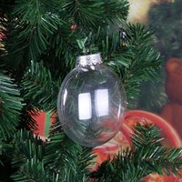 Wholesale flat christmas ornaments resale online - Hanging cm Christmas Decor Xmas Tree Flat Ball Pendant Plastic Clear Bauble Ornament Kids Favors Party Supplies Jkjs