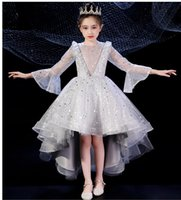 Wholesale simple hand made dresses for girls resale online - The new style of short front and long round neck layered simple good looking and fashionable hand made flowered puff dress for girl