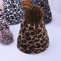 Wholesale Leopard Knitted Hat Pom Pom Fur Ball Beanies Women Winter Warm Wool Knitting Hat Outdoor Keep Warm Beanie Caps Party Hats w