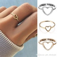 Wholesale sister rings resale online - Best Friend Heart Ring Silver Gold Engrave Letters Friendship Love Ring Fashion Jewelry For Women Sisters Gift Drop Shipping