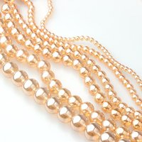 Wholesale glass coating resin resale online - Gold Champagne Transparent Metallic Titanium Coated Crystal Glass Smooth Round Beads mm mm mm mm mm mm sqcTsk