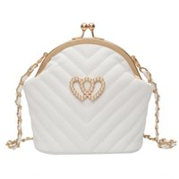 Wholesale phone vases resale online - Double love pearl clip women s V shaped Vase Pearl embroidery bottle chain small bag foreign style single shoulder crossbar clip bag XeI8z X