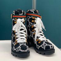 Wholesale striped rubber resale online - Fashion Women Snow Boots Desert Boot Women Platform Winter Ankle Boot Heel Waterproof Martin Boot Knight Flower Nude Boots Size Type1