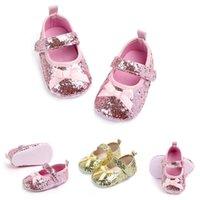Wholesale new shose resale online - NEW Infant Baby Girl Paillette Anti Slip Shoes Prewalkers Princess Shose