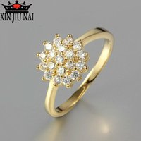 Wholesale simple elegant wedding ring sets for sale - Group buy Exquisite golden garland simple ladies ring zircon jewelry party fashion gift elegant temperament female engagement wedding ring