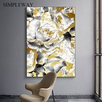 Wholesale rose abstract paint art resale online - Golden Black White Rose Flower Abstract Poster Floral Print Wall Art Canvas Painting Modern Picture Home Living Room Decoration