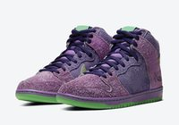 Wholesale skateboard shipping box resale online - Top Quality Sb Dunk High Purple Skunk For Sale Sb Dunk Skateboard Shoes Men Sport Shoes With Box Us39 with logo