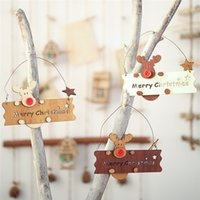 Wholesale wooden ornament resale online - Christmas Wooden Openwork Letter Elk Pendant Ornament Xmas Tree Hanging Decorations Wooden Gift DHL