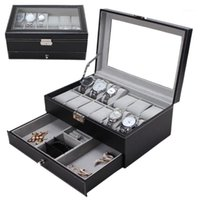 watch case storage organizer 2021 - New 12 Grids Slots Double Layers PU Leather Watch Storage Box Professional Watch Case Rings Bracelet Organizer Box Holder1