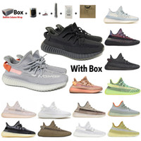 Wholesale top quality sneaker box resale online - 2020 TOP Quality Double Box Kanye West V2 Men Women Running Shoes Zebra Cinder Tail Light Reflective Asriel Linen sneakers with half