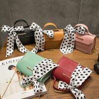 Wholesale leather messager bags resale online - Hot Sale Small Shoulder Bag Girls Fashion Women PU Leather Messager Crossbody Bag Handbag Silk Scarf Decoration Square Clutch