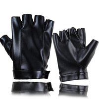 Wholesale fingerless leather gloves fashion resale online - LongKeeper Fashion Half Finger Gloves Men Women PU Leather Fingerless Mitten Black Driving Comfortable Eldiven Guantes
