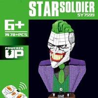 Dark Knight Batman Joker RC Superhero Evil Clown Bust MOC Statue Action Figures Building Blocks Bricks Dc Toys 7599 for Children Gift