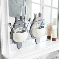 Wholesale totoro box resale online - Cute Totoro Sucker Toothbrush Holder Cartoon Totoro Wall Mount Hanging Suction Toothbrush Holder Storage Box Bathroom Supplies OWD2727