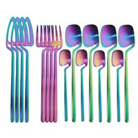 Wholesale gold coffee table for sale - Group buy 16pcs Rainbow Dinnerware Set Spoon Fork Knife Table Decor Cutlery Sets Kitchen Matte Gold tableware Set Desserts Soup Coffee Use