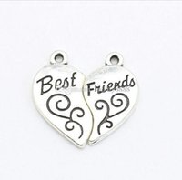Wholesale tibetan heart charms jewelry making resale online - 100sets Tibetan Silver Plated Best Friends Heart Charms Pendants For Bracelet Necklace Jewelry Making Accessories Diy x12mm
