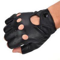 Wholesale punk leather gloves resale online - 1 Pair Fashion motor Punk Gloves Unisex Black PU Leather Fingerless Gloves Solid Female Half Finger Driving Women Men