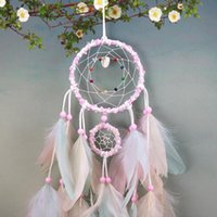 Wholesale wind glove resale online - Colorful Handmade Dream Catcher Feathers Car Home Wall Hanging Decoration Ornament Gift Wind ChimeCraft Decor Supplies FWF2672