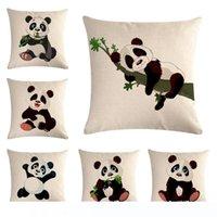 Wholesale panda pillow case resale online - Panda Series Animal Cushion Cover Decorative Linen Pillowcase Square quot Throw Pillow Case Coffee House Sofa Waist Back Decor Party Gif