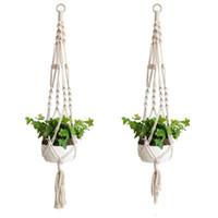Wholesale indoor hanging planters resale online - Plant Hangers Macrame Rope Pots Holder Rope Wall Hanging Planter Hanging Basket Plant Holders Indoor Flowerpot Basket Lifting HWA560
