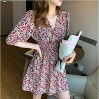 Wholesale r dresses resale online - 2020 new fashion spring and summer French romantic V neck waist closed high chiffon floral new fashion spring and dress summer French r