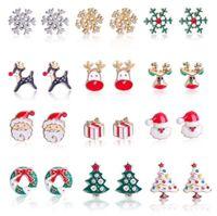 Wholesale Christmas Charms Earrings Diamond Tree Earrings Bells Snowflake Alloy Earring Exquisite Ear Clip Christmas Earrings Xams Decor HWC3036