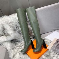 Wholesale females long boots resale online - Fashion color matching round head women long Boots Solid High heels female martin casual wild non slip leather women boots a2606