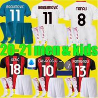 Wholesale soccer jerseys sets for sale - Group buy adult boys AC milan IBRAHIMOVIC soccer jerseys Set PIATEK PAQUETA THEO REBIC football shirts men kids kits uniforms